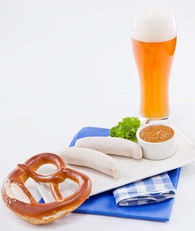 weisswurst white sausages and sweet mustard with pretzel  bavarian traditional food Stock Photo - 18373718