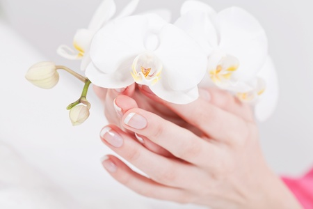 manicurist: professional manicurist doing a manicure natural look