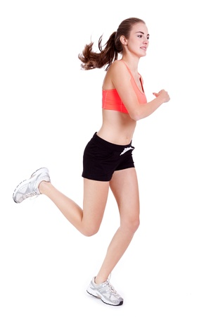young attractive woman jogging jogger runner sport isolated on white Stock Photo