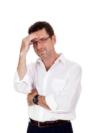 adult businessman frustrated stressed headache isolated on white photo