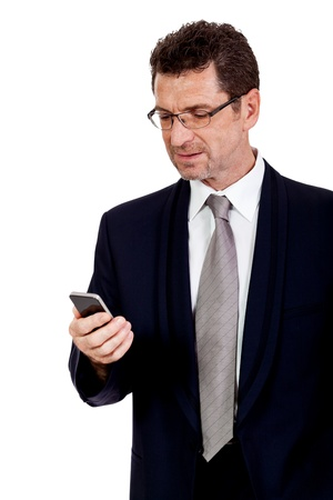 mobilephone: adult businessman with smartphone mobilephone isolated on white
