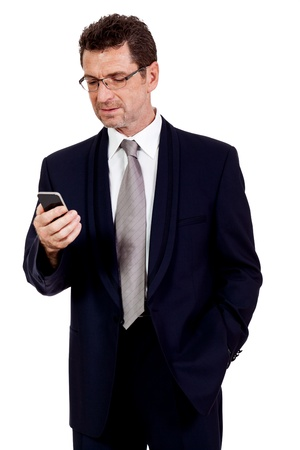 adult businessman with smartphone mobilephone isolated on white photo