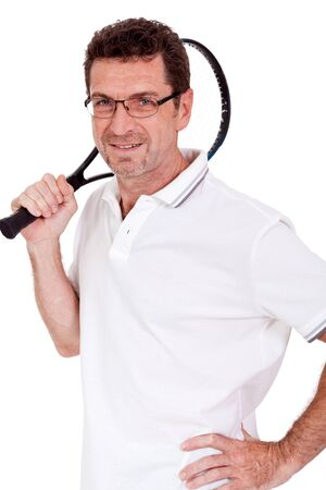 raquet: smiling adult tennis player with racket in sportswear  isolated on white