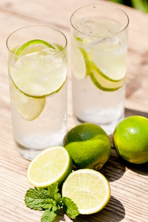 fresh cold refreshment drink mineral water soda with lime and mint on wooden table in summer photo