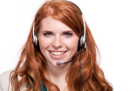 attractive smiling business woman callcenter agent operator isolated on white photo