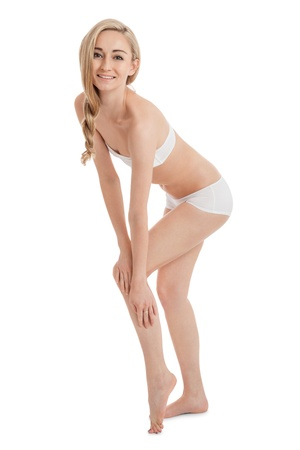 attractive slim woman body healthy isolated legs wellness beauty photo