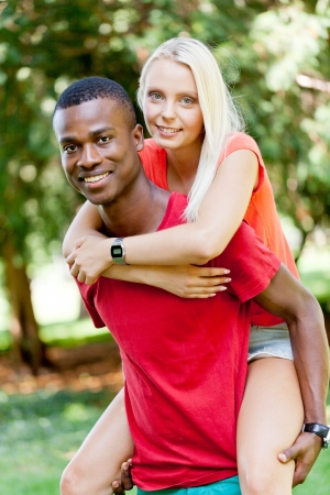 young couple in love summertime fun happiness romance outdoor colorful photo
