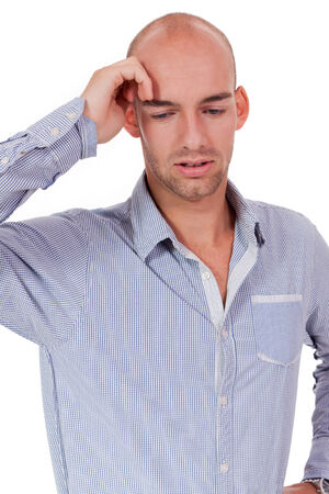 young adult businessman frustrated stressed headache isolated on white photo