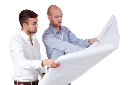 young adult businessman architect with blueprint portrait isolated Фото со стока