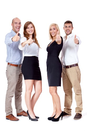 happy people business team group together isolated on white background photo