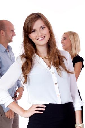 mujeres felices: diversidad equipo de negocios feliz aislados en blanco Foto de archivo