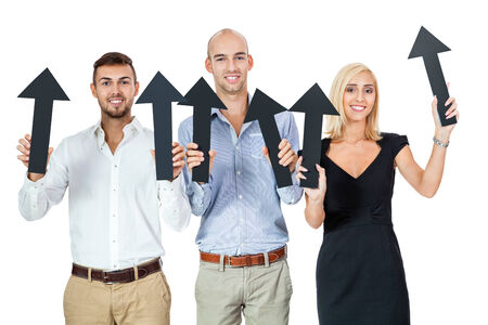 happy people showing up black arrows business team advertising isolated photo