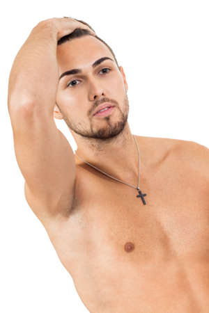 young attractive man in jeans and naked body isolated on white background photo