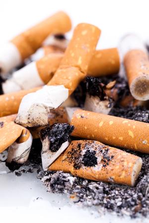 nicotine: stop smoking cigarettes ashtrey nicotine closeup isolated object Stock Photo