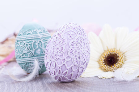 beautiful easter egg decoration colorfull eggs seasonal pastel colors bright photo