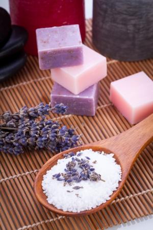 handmade lavender soap and bath salt wellness spa aroma objects
