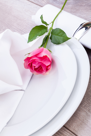 Romantic Formal Elegant Table Setting With A Single Pink Rose ...