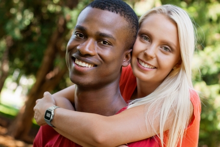 african american couple: young couple in love summertime fun happiness romance outdoor colorful