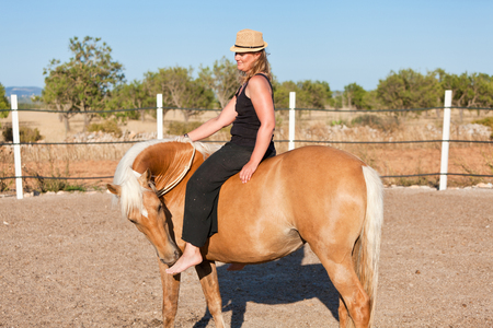 young woman training horse outside in summer choreography  photo
