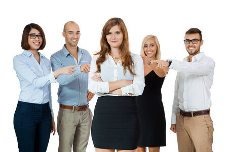 team of young business people mobbing bullying collegue isolated on white photo