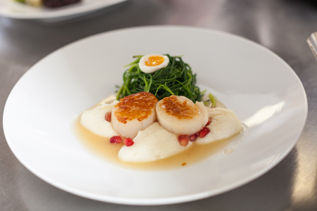Delicious starter of stuffed savoury eggs served with leafy greens and pomegranate seeds in a gourmet presentation