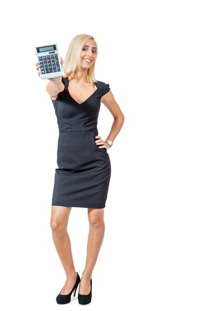 Sexy stylish blond woman holding up a calculator with the display facing the camera and her hand on her hip, isolated on white photo