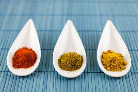 pungent: Spezie secche in cucchiai in ceramica decorativi a punta per condire la cucina salata con pepe di cayenna peperoncino, curcuma e curry in polvere per un gusto piccante pungente