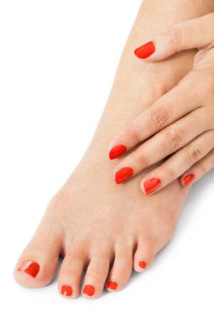 women s feet: Woman with beautiful neatly manicured finger and toenails red sitting with bare feet clasping her ankles to display her nails, closeup on white in a fashion and beauty concept
