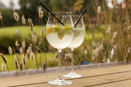hugo: hugo prosecco elderflower soda ice summer drink outdoor appetizer Stock Photo