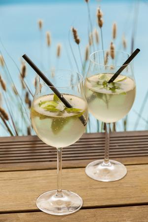 hugo prosecco elderflower soda ice summer drink outdoor appetizer photo