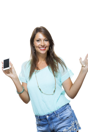 non verbal: Portrait of Pretty Happy Woman in Casual Clothing Looking Something at her Mobile Phone on Hand. Captures in Studio with White Background.