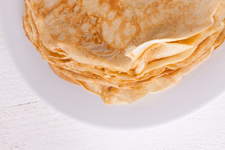 Delicious pancakes on plate served
