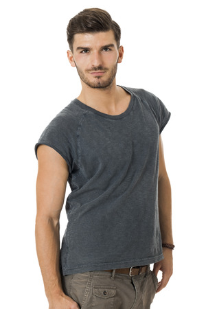attractive charismatic: Handsome young bearded man with a lovely charismatic smile wearing a cotton t-shirt, isolated on white