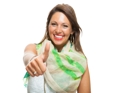 two thumbs up: Close up Stylish Pretty Woman in Showing Two Thumbs up Signs at the Camera. Isolated on White Background.