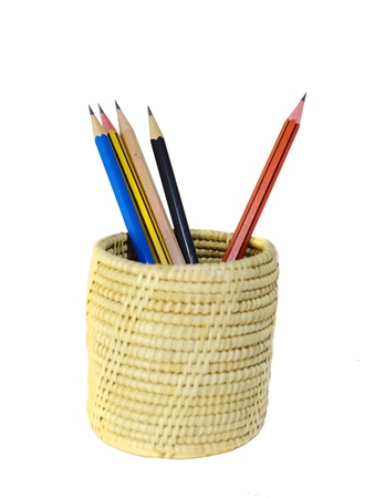 fine tip: pencils in pail isolated on white