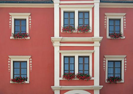 Red flowers in window boxes beneath white windows on the front of a house. Stock Photo