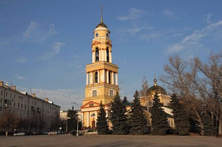 lenina: Cathedral of a birth of the Christ. Square Lenina-Sobornaja. Lipetsk city. Russian Federation. Stock Photo