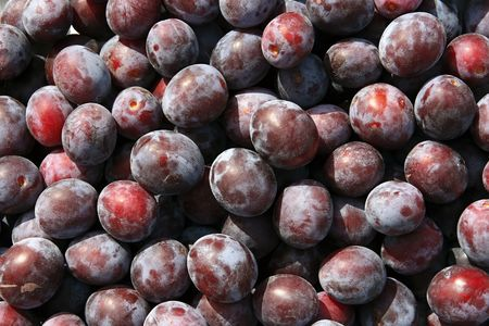 Close-ups of fresh plums. Natural source of vitamins Stock Photo
