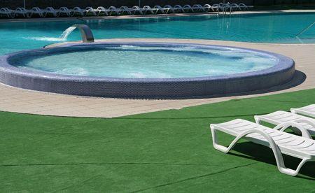 Beautiful blue fresh swimming pool