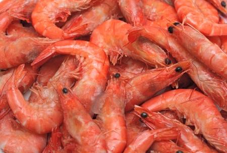 Frozen fresh shrimps for sale at a market Stock Photo