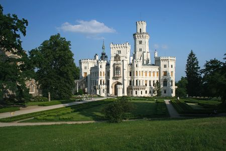 budejovice: Hluboka nad Vltavou castle near Ceske Budejovice, Czech Republic Stock Photo