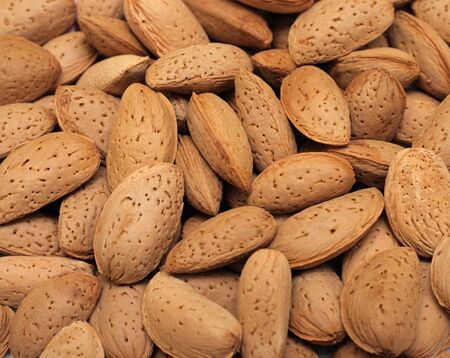 almond: Close-up of almonds. Natural source of vitamins Stock Photo