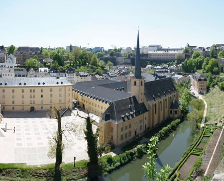 "benelux: View of old monastery in city Luxembourg. The ""best balcony in Europe"", the Corniche."