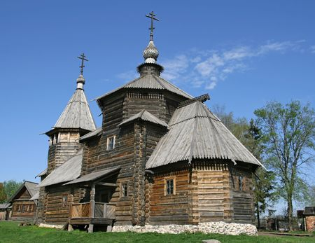 Transfiguration Church from village Kozliatyevo (1756), Museum of Wooden Architecture, Suzdal. Golden Ring, Russia Stock Photo