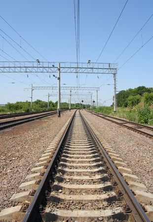 vanishing: Railroad tracks vanishing into the distance Stock Photo