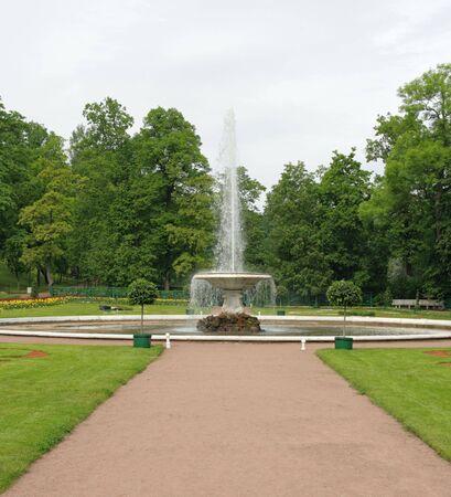 italian fountain: The Italian Fountain in the Parterre Garden. Peterhof (Petrodvorets), St. Petersburg, Russia. Stock Photo