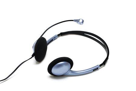 Mp3 player headphones, isolated photo