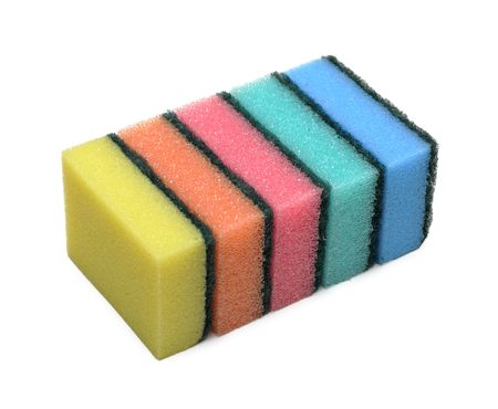 Pile of ñleaning colored sponge, isolated on the white background photo