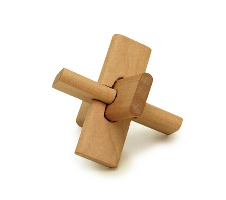 logical: Wooden logical toy, isolated on a white background