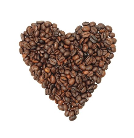 coffee crop: Coffee Bean Heart, isolated on a white background Stock Photo